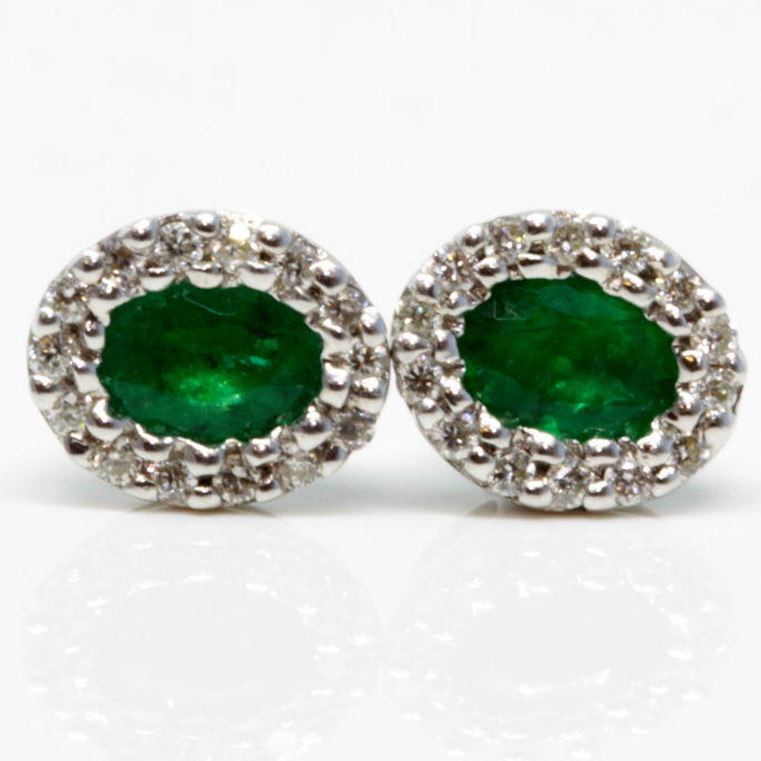 309912174 18ct White Gold Emerald and Diamond Cluster Earrings - Ian Gallacher