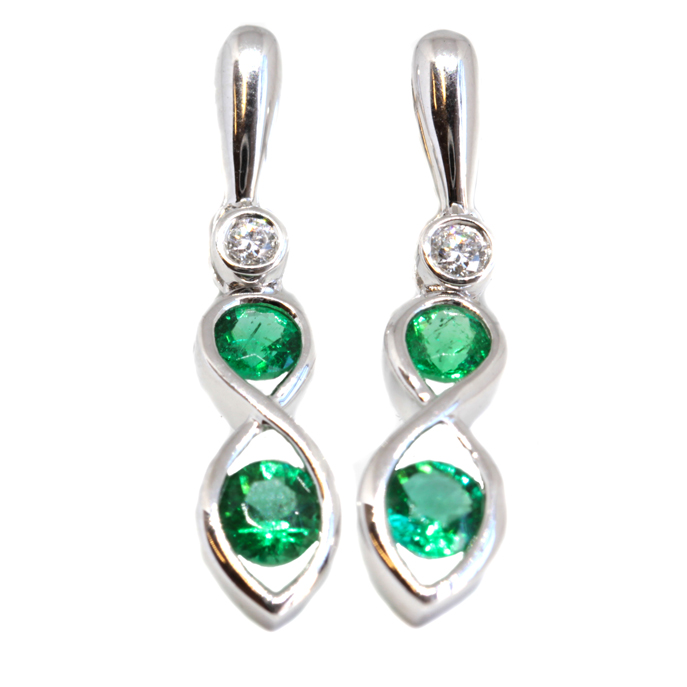 649a829f4 18ct White Gold Emerald and Diamond Earrings - Ian Gallacher